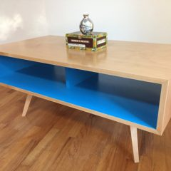 Mid Century Modern Coffee Table / TV Stand, Tapered Wood Legs